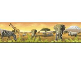 6901-11 safari behangrand dieren zebra giraf behangrand