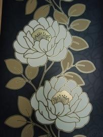zwart goud bloemen roosje behang 10