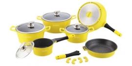 14 delige luxe geel marmer pannenset van Royalty Line Switzerland x1