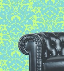 Dutch Wallcoverings Schuimvinylbehang barok groot - Groen/blauw