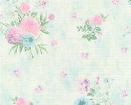 groen creme bloemen behang  35873-3