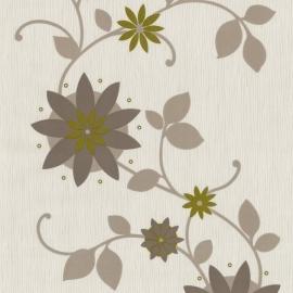 Behang Expresse Flair bloemen behang goud bruin taupe