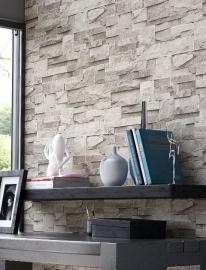 steen behang 3d grijs  xx3