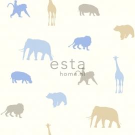 Esta Giggle 137332 blauw bruin dieren behang