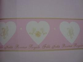 roze bruin stijlvol wit hartjes behangrand  64