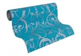 Patroonbehang Livingwalls Flock 4 Waterblauw, Oceaanblauw, Witaluminium