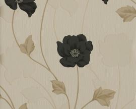 308535 zwart beige bloemen behang chicago vinyl