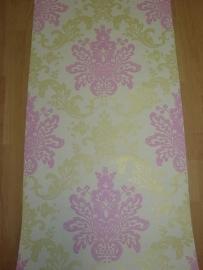 barok behang vlies roze groen wit xx56