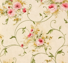 Romantica bloemen behang  beige groen AS 30420-3