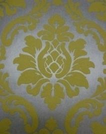barok behang vinyl parelmoer zilver geel 139