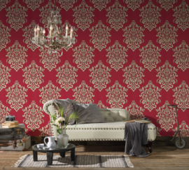 Rood barok behang 34143-5