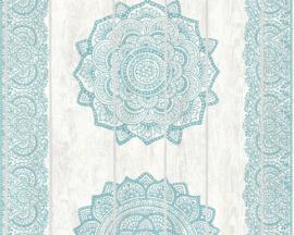 barok behang vlıes blauw 36462-4