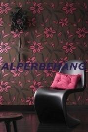 modern behang bloemen bruin roze 558
