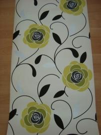 bloemen behang groen geel zwart 83