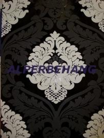barok vlies behang zwart  wit parelmoer x384