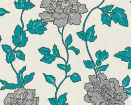 Bloemen behang blauw zilver glitter 36695-5