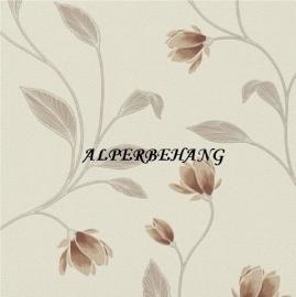 bruin bloemen creme vinyl behang met glinster in de bladeren  966211