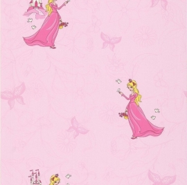 Noordwand Les Aventures 12104103 prinsessen behang disney meisjes roze vlinders