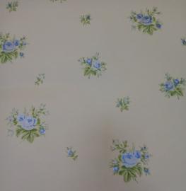 blauw bloemen behang roosjes rasch 2524