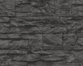 zwart natuursteen vlies behang  xx28