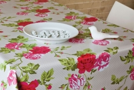 150-028 creme roze groen bloemen tafelzeil