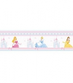 roze blauw geel wit stijlvol prinsessen behangrand 58