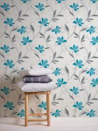 Blauw bloemen behang 94962-2