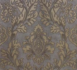 barok vlies behang grijs goud 56801