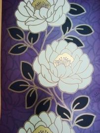 paars goud zwart bloemen behang  07