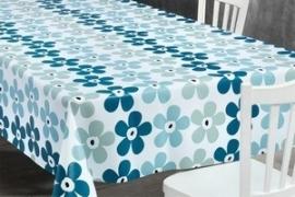 150-056 blauw wit bloemen tafelzeil