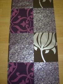 paars bloemen patchwork kant vlies behang 43073
