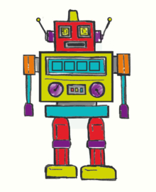 Arthouse Opera Fun Light Up canvas Retro Robot 002848