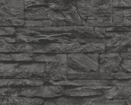 AS Creation Murano 7071-23 Stone grijs zwart steenbehang