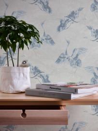 Grijs blauw vogel behang 36631-2