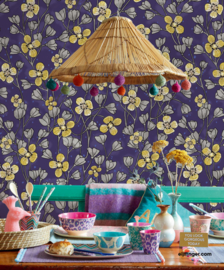 Eijffinger Rice 2 Wallpower 383615 Poetic Wall Flower Purple