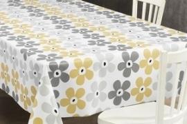 150-057 geel grijs bloemen tafelzeil