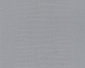 1466-25 Decora natur 5 behang krokodillenhuid krokodil zilver grijs