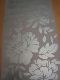 grijs zilver glim vlies bloemen behang 20