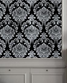 1169-7 zwart barok klassiek behang zwart zilver