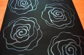 zwart zilver rozen behang bloemen 22