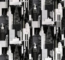 kinder behang grijs zwart gebouwen buildings behang 118
