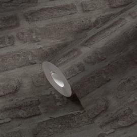 vliesbehang steenlook 3d grijs  374223