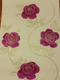 modern bloemen behang creme rood 77