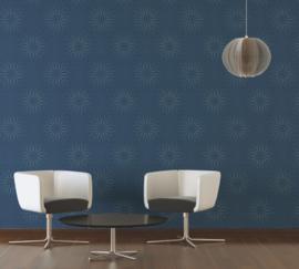 Blauw modern retro behang 940225