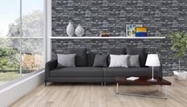 Steen behang zwart grijs 36281-2