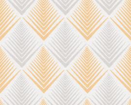 retro behang oranje grijs 35606-1
