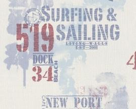 Living Walls Surfing & Sailing behang 9270-19 blauw rood