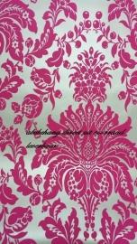 barok roze zilver vinyl behang 17154