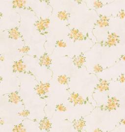 Dollhouse behang geel blauw bloemen behang fd22170