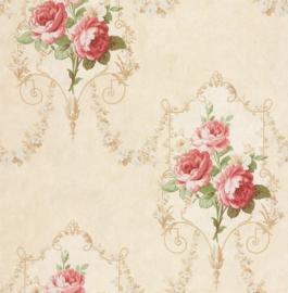 Bloemen behang rood DE41436